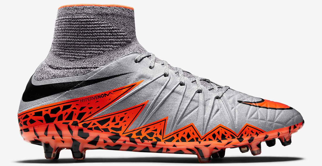 eb132e58fdf The Wolf Grey Nike Hypervenom II 2015 Shoes boasts a striking orange  graphic pattern on the heel area to stand out on the pitch